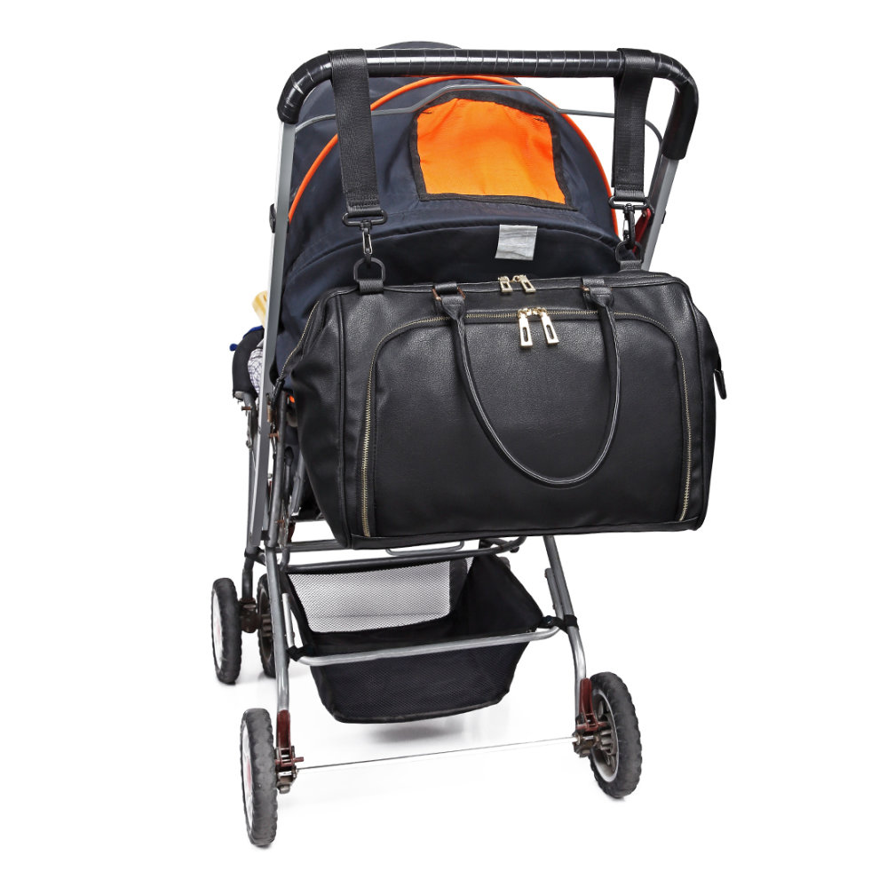 8aaf3336eed3e ... Miss Lulu 3 Pieces Baby Nappy Diaper Changing Bag PU Leather Black -  10. >