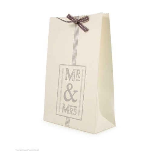 East Of India: Kraft Gift Bag With ribbon: Mr & Mrs