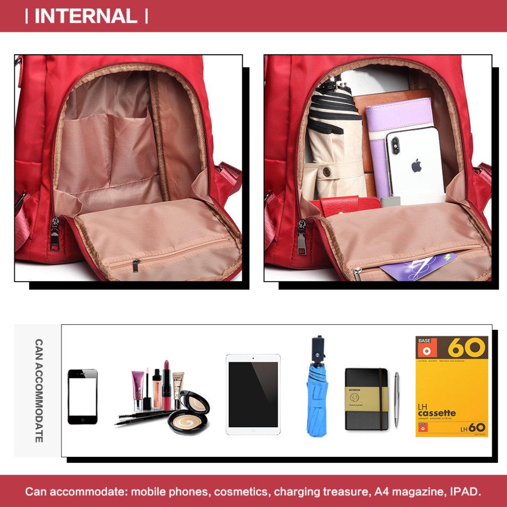 39ff69974 ... Miss Lulu Women Anti-theft Backpacks Girls Fur Ball School Bags  Waterproof Daypack Rucksack Burgundy ...