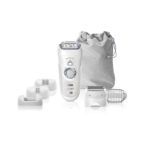 Braun Silk-Epil 7 7-880 SensoSmart Cordless Wet and Dry Epilator with 7 Extras, Ladies Electric Shaver, Silver