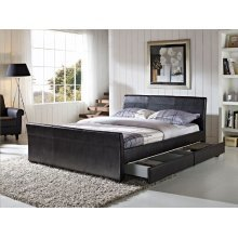 Madrid Sleigh Bed Frame 4 Drawer Storage Leather