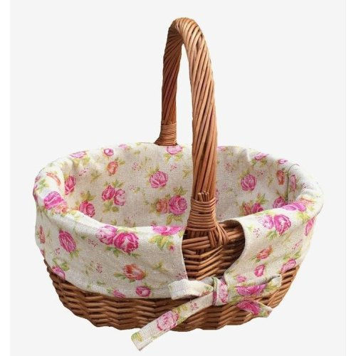 Double Steamed Oval Shopping Basket with Rose Lining