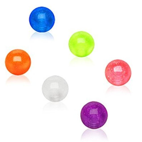 10 X Spare Balls Glow in the Dark ( Under UV Light ) 1.2mm x 4mm Eyebrow / Tragus / Cartilage Earring size
