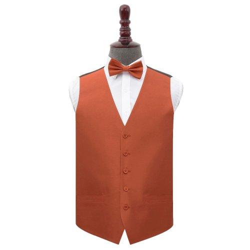 Rust Shantung Wedding Waistcoat & Bow Tie Set 42'