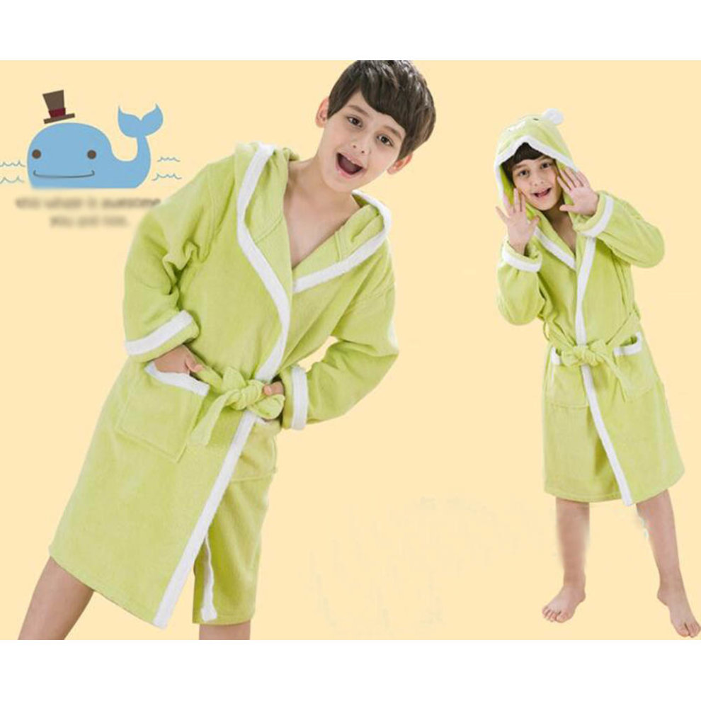 7a6abca28f ... Children Cotton Bathrobe Soft Swim Bath Gown Robes Pajamas with Hat-A02  - 1.