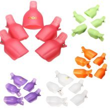 5Pcs Acrylic Reusable Toenail Tips Clamp Soak Off UV Gel Polish Clip Caps