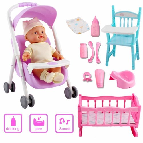 deAO My First Baby Doll Nursery Playset Toy Cot Crib Stroller High Chair Dolly Play Set Baby Doll with Accessories & Sounds