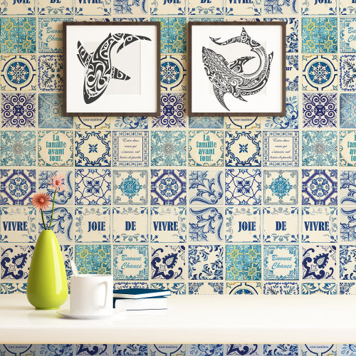 Walplus Tile Sticker French Quote Classic Blue Wall Sticker Decal (Size: 20m x 20cm @ 12pcs)