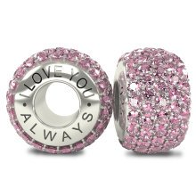 I Love You Always - Silver 925 Pink Austrian Crystals Bead Charm