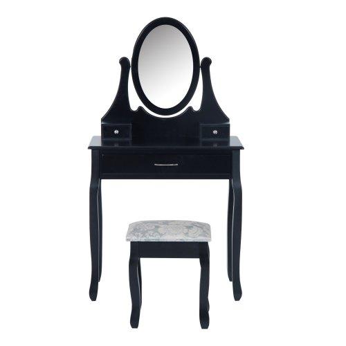 Homcom Wooden Dressing Table Vanity Set 3 Drawer Bedroom Furniture W/ Padded Stool & Mirror