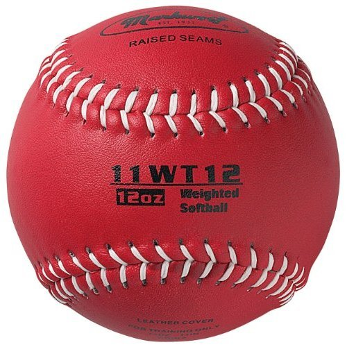 Markwort Color Coded Weighted 11-Inch Softball (12-Ounce, Maroon)