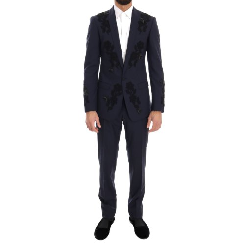 Dolce & Gabbana Blue Crystal Bee Roses Wool Stretch Suit