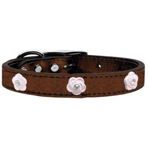 Mirage Pet 83-85 Bz22 Light Pink Rose Widget Genuine Metallic Leather Dog Collar, Bronze - Size 22