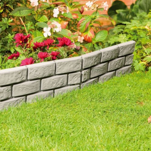 4 X Grey Instant Brick Effect Hammer in Garden Lawn Edging Plant Border