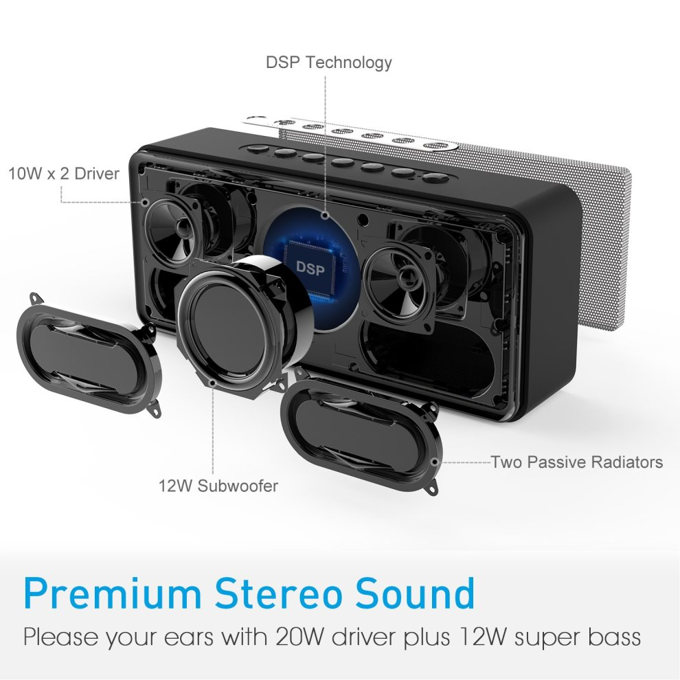 DOSS SoundBox XL 32W Bluetooth Speakers, Dual-Driver Wireless Bluetooth  Home Stereo Speaker with 20W HD Sound, 12W Subwoofer, Bold Bass, Long