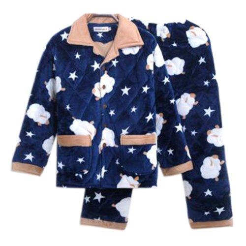 Men Pajamas Warm Thick Cotton Winter Suit Modern Set Sleepwear/Nightwear Clothes for Home, C5