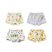 Pack of 4 High Quality Cotton Boys Underwear Breathable Kids Brief-Grey