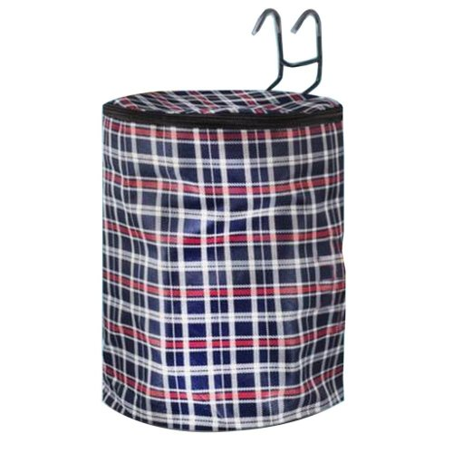 [Plaid-1] Waterproof Canvas Bicycle Basket Foldable Lidded Basket for Bike