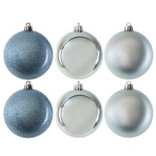 Pack of 6 Glitter, Matte & Shiny Blue 8cm Christmas Baubles