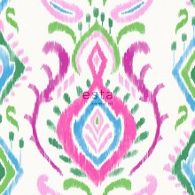 wallpaper baroque print green and pink - 148648