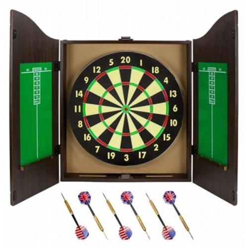 Brybelly Holdings SDRT-201 Walnut Dartboard Cabinet Set with 6 Brass Darts and Board