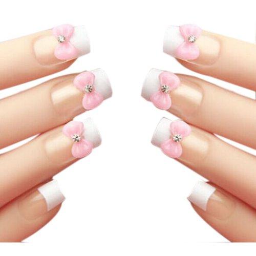 Set of 24 Lovely Bowknot Style Makeup Sets DIY 3D Design False Nails, Pink