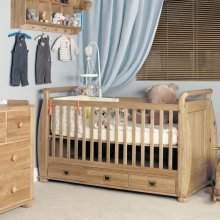 Amelia Oak Cot-Bed with Three Drawers