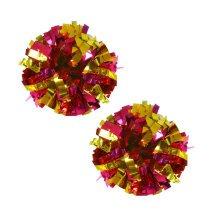 Set of 2 Plastic Ring Pom Metallic Cheerleading Poms 100g Rose+Gold