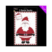 Theme Machine 3 Pack Santa Sacks - 30 Inch X 20 Inch - Christmas Xmas 3 Giant -  santa christmas xmas sacks 3x giant present stocking bags plastic