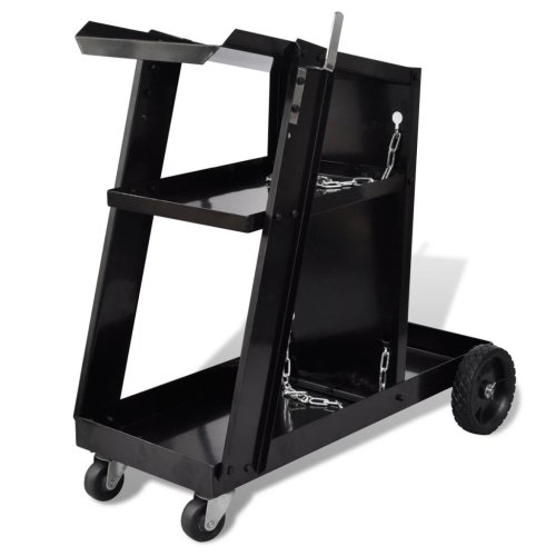 vidaXL Welding Cart Black Trolley with 3 Shelves Workshop Organiser Dollies