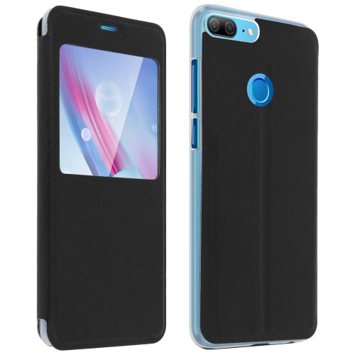 cheap for discount d9316 20398 Smart view window flip case for Honor 9 Lite, slim cover – Black