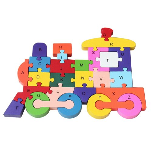 Funny Digital & Letter Wooden Blocks Puzzles Educational Puzzle Train