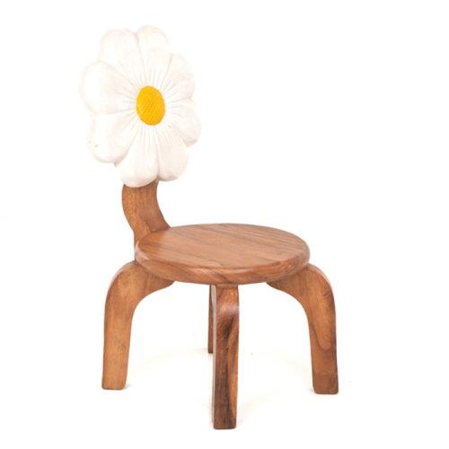 Wooden White Flower Chair