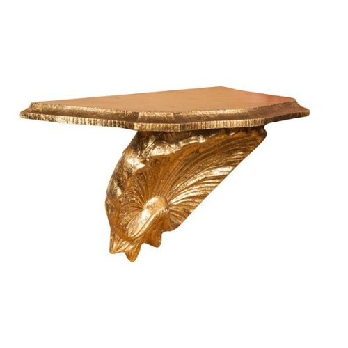 W30xdp15xh16 Cm Made In Italy Sized Wood Made Antiqued Gold Leaf Finish Wall Shelf