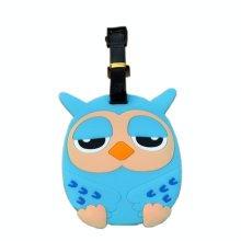 Cool Owl Luggage Tag PVC Name Badges Plastic Luggage Tag Travel Baggage Tag BLUE