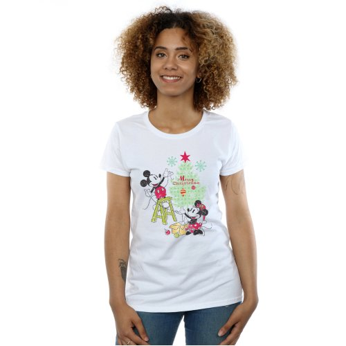 Disney Women's Mickey And Minnie Christmas Tree T-Shirt