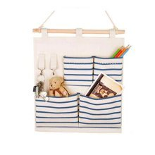 4-Pockets Zakka Wall Door Closet Hanging Storage Bag Case Home Organizer, Blue