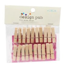 Mini Natural Wooden Clothespins Photo Paper Peg Pin Craft Clips with 2m Jute Twine, H
