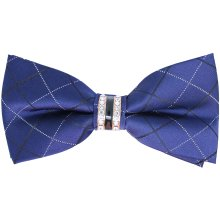 Blue Buckle Bow Tie with Rhinestone Centre