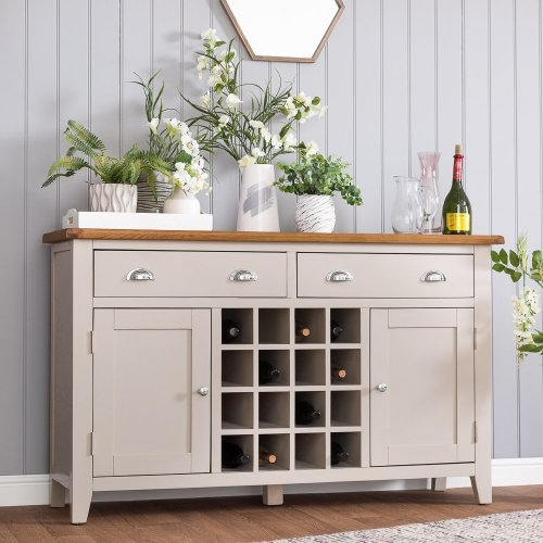 St. Ives Truffle Painted Oak 2 Door Large Sideboard With Wine Rack