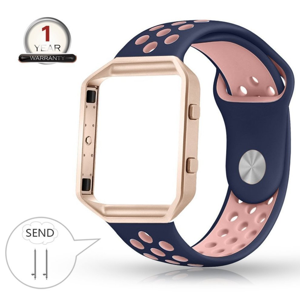 Fitbit Blaze Strap with Frame, Small Breathable Silicone Sport Replacement  Wrist Strap with Rose Gold Metal Case for Smart Fitness Watch Women Men