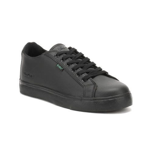 Kickers Youth Black Leather Tovni Lacer Trainers
