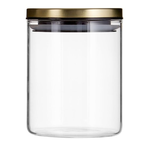 Clear Glass Freska Jar With Gold Metal Lid - 700ml | Airtight Storage Jar