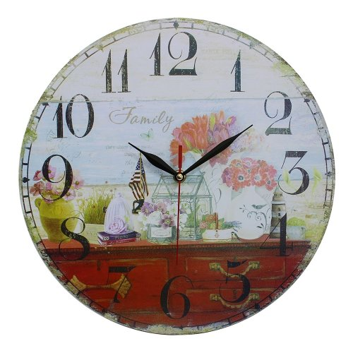 Obique Vintage Style Shabby Chic MDF Family Scene Wall Clock 34 cm