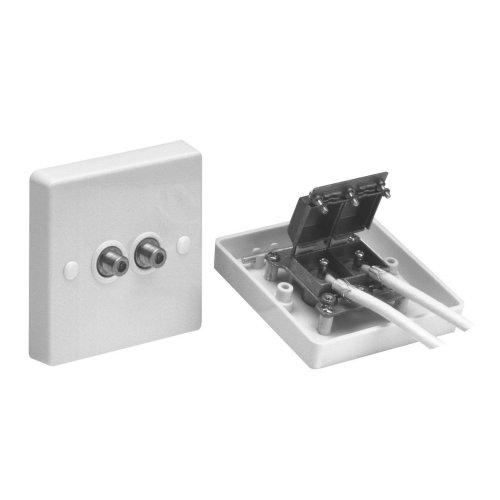 Maxview Screened Twin Satellite TV Outlet Plate