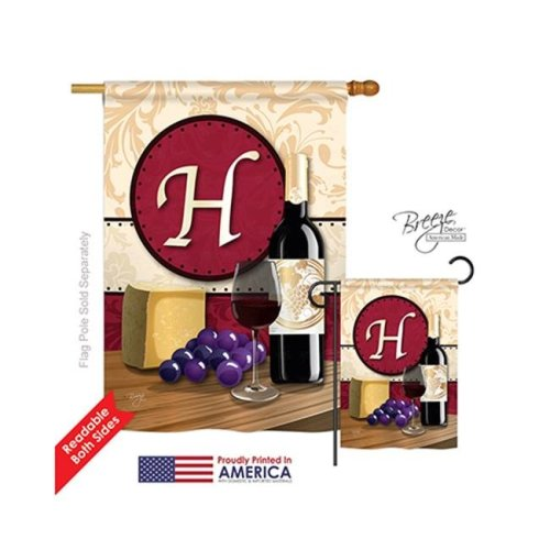 Breeze Decor 30216 Wine H Monogram 2-Sided Vertical Impression House Flag - 28 x 40 in.