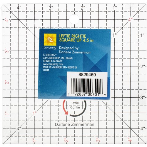 """EZ Quilting Square Up Left- & Right-Hand-4.5"""" Clear"""