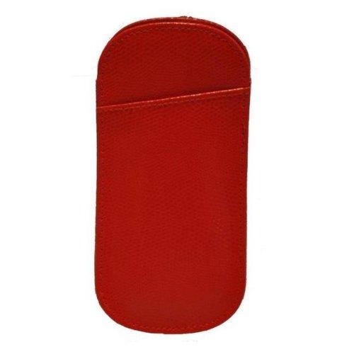 Budd Leather 552304L-9 Lizard Printed Calf Slip In Eyeglass Case - Hot Red