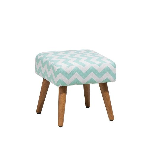 Beliani OSAGE Mint Green & White Footstool | Printed Cube Footstool
