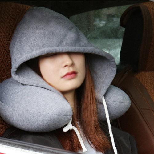 Grey Hooded Hoodie U Shape Neck Pillow